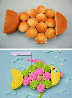 Make a fish cake with one round cake and cupcakes. Orange and pink, chocolate and white cupcakes for friend party. Baby Cakes, Kid Cakes, Fishing Cupcakes, Fishing Theme Cake, Pull Apart Cupcakes, Cute Cakes, Yummy Cakes, Creative Cakes, Cupcake Cookies