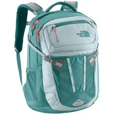 The North Face Recon Hydro Green/Snowcone Red Womens Backpack Trendy Backpacks, School Backpacks, Girl Backpacks, North Face Women, The North Face, North Faces, North Face Backpack, Women's Accessories, Shopping