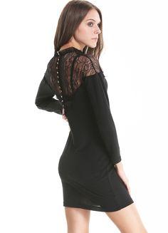 Black Three Quarter Length Sleeve Contrast Lace Back Dress 26.67