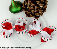 Christmas Hair Bows for Girls Red White and by SheWearsitWell, $13.50