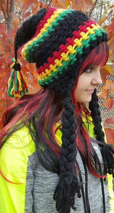 Crochet Rasta Hippie Hat. Made by Bead Gs on ETSY.  Ladies Size. Funky hat. gypsy. crochet funky hat.