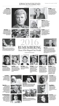 2016 Remembering Those Who Shaped Our World|Epoch Times #newspaper #editorialdesign