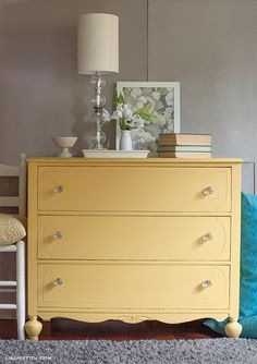 English Yellow and Arles Chalk Paint® decorative paint by Annie Sloan beautifully mixed together to create this custom color for a sleek dresser | By Lia Griffith of Handcraft Your Life