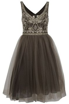 Cute brown tulle sequins prom dress, homecoming party dress