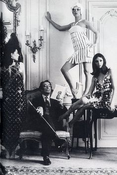 Dali with models in Paco Rabanne dresses, 1960s.