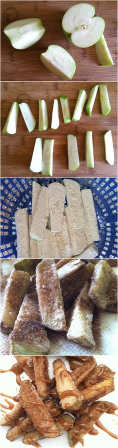 Apples Fries with Cinnamon Ingredients Fresh middle size green apples (2 or 3) 2 cups canola oil 1 cup cornstarch 3 tbs cinnamon ½ cup sugar You can melt some caramel for dipping. Or make your own …