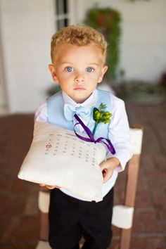 SUCH a cute ring bearer! Love the calendar pillow idea.