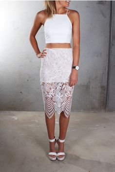 Harmony Lace Skirt White $49 Shop ll http://www.jeanjail.com.au/ladies/harmony-lace-skirt-white.html