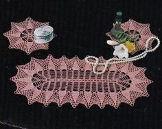 Vintage Crochet Pattern Instructions to Make 2 x Dressing Table Sets Doilies