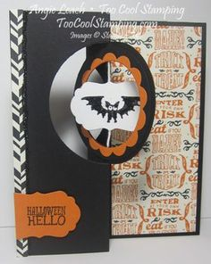 Halloween Hello Swing & Suspension Spinner Card - shelli gardner CASE, circle card thinlit. Learn more: www.TooCoolStamping.com