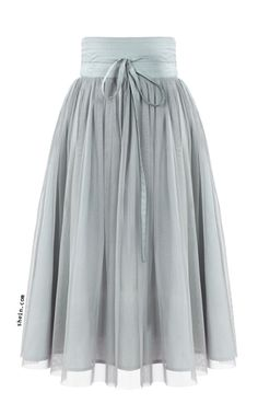Grey High Waist Pleated Mesh Skirt