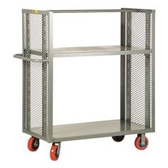 Bulk Storage Truck, 2 Shelves, 48x24 by Little Giant. $705.60. Bulk Storage Truck, Load Capacity 3600 lb.Overall Length 48 In., Overall Width 24 In., Overall Height 9 In.Construction Welded Steel, Gauge 12, Powder Coat FinishCaster Dia. 6 In., Caster Width 2 In., Color Gray, Features Push Handle