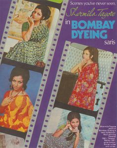 Bombay Dyeing synthetic sarees - Ad published in 1973, yester-year actress Sharmila Tagore models the pretty printed drapes! On a side note, Memsaab Story is a blog that's filled with bygone memorablia - love it!