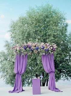 14 More Stylish Ways To Add Purple To Your Fall Wedding: A purple wedding arch with curtains, lush blooms and greenery looks very eye-catching Violet Wedding Cakes, Deep Purple Wedding, Purple Wedding Flowers, Floral Wedding, Wedding Colors, Fall Wedding, Wedding Ceremony, Wedding Ideas, Hydrangea Bouquet Wedding