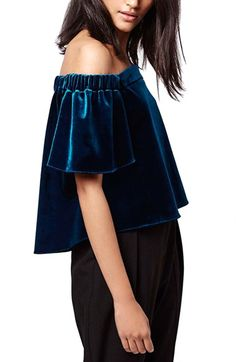 Topshop 'Bardot' Velvet Crop Top available at #Nordstrom