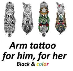 Mod The Sims: Arm tattoo for him & for her, Black & color by argos93 • Sims 4 Downloads