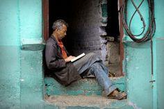 Reading in the doorway