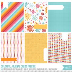Free Colorful Journal Cards from MissTiina.com {Blog}
