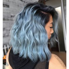 Rooty Denim Blue Rooty Denim Blue Hair Behind+ Pastel Blue Hair, Hair Color Purple, Hair Dye Colors, Cool Hair Color, Blue Ombre, Short Blue Hair, Light Blue Hair, Dyed Hair Blue, Hair Color For Kids