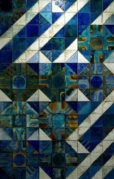 .geometric tile wall.