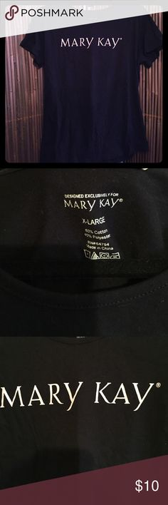 Mary Kay Tee Wear this cute tee to your next Mary Kay Party and let your customers know you're serious about your MK business. The lettering on this black tee are a baby pink, but look white in photo.. sorry. Worn once! Mary Kay Tops Tees - Short Sleeve