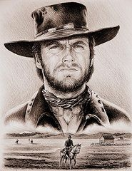 "The Stranger - Clint Eastwood. This piece was hand drawn on white card using Staedtler Mars Lumograph pencils and blends together two scenes from Clints movies, ""Two mules for Sister Sara"" and ""High plains drifter""Andrew Read copyright 2016 Clint Eastwood, Eastwood Movies, Westerns, Portrait Au Crayon, Gravure Illustration, Cowboy Art, Western Movies, Western Art, Western Cowboy"