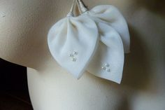 SALE 3 Vintage Leaves in Ivory Organdy with by MaryNotMartha, $3.25