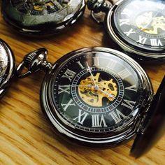 Wedding Party Gift Personalized Black Pocket watch Engravable Mechanic – PocketWatchKeepsakes