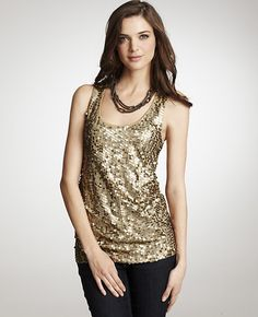 Petite Sequined Front Tank