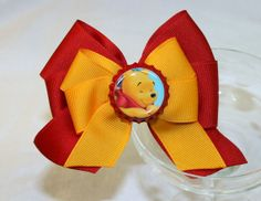 Winnie the Pooh Hair Bow  Cranberry and Gold by MagnoliaWay, $7.00