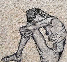 art and anorexia Depression Drawing, Mental Health Art, Freehand Machine Embroidery, Creative Embroidery, Thread Painting, A Level Art, Human Condition, Textile Artists, Figurative Art