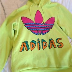 Jeremy Scott Adidas green sweatshirt This item has been worn a few times only.  I'm moving and need to downsize my closet! Jeremy Scott x Adidas Tops Sweatshirts & Hoodies