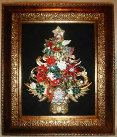 Framed Vintage Rhinestone Jewelry Art Christmas Tree Holiday Pins | eBay $175