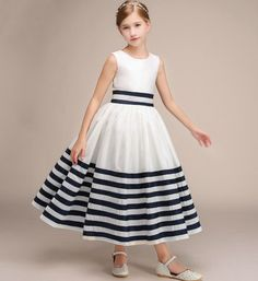 Simple Striped Dress-Made To Order - High Quality Round Neckline Sleeveless Tea Length Infant Toddler Little & Big Girl Striped Party Dress. Blush Flower Girl Dresses, Baby Girl Party Dresses, Little Girl Dresses, Girls Dresses, Frock Design, Baby Dress Design, Frock Patterns, Girl Dress Patterns, Kids Outfits Girls