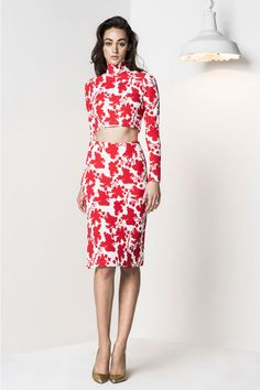 Macgraw collection autumn / winter 2014 hot tamale top and skirt in ponti white and red floral