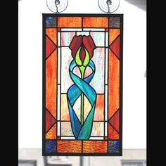 Stained Glass Panel Stylized Tulip by helixartandglass on Etsy, $75.00