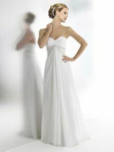 A-line Sweetheart Chiffon Sweep Train Beading Wedding Dresses