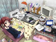 ✮ ANIME ART ✮ otaku. . .nerd. . .books. . .reading. . .computer. . .CDs. . .games. . .messy room. . .desk. . .blanket. . .anime girl. . .red hair. . .ponytail. . .kawaii
