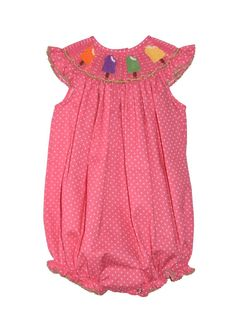 Hand Smocked Popsicles Hot Pink Polkadot Girl's Baby Bubble