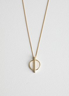 Circle Bar Pendant Necklace - Gold - Pendants - & Other Stories Diamond Choker, Gold Choker Necklace, Crystal Choker, Bar Earrings, Moon Necklace, Silver Pendant Necklace, Pearl Pendant, Long Pearl Necklaces, Jewelry Necklaces
