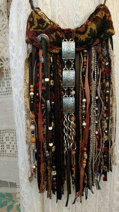 Handmade VEGAN Fringe Cross Body Bag Hippie Boho Hobo Gypsy Brown Purse tmyers #Handmade #MessengerCrossBody