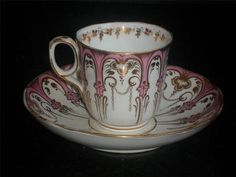 Early Victorian Davenport Porcelain Gilded Cup & Saucer C 1849