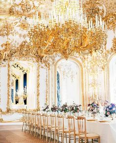 Fit For a Queen - Grand, lavish, opulent — this gold space is fit for a princess bride. Ornate details channel romance and Marie Antoinette vibes. Photo Credit: Ashley Ludaescher / Wedding Planner: A Very Beloved Wedding Wedding Reception Decorations, Wedding Themes, Wedding Designs, Wedding Photos, Wedding Ideas, Reception Table, Reception Ideas, Wedding Centerpieces, Wedding Dresses