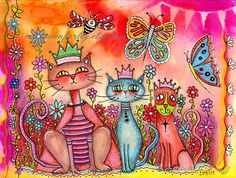 Art Print Garden Kitties Three Cats Cat Art by maryannfarley
