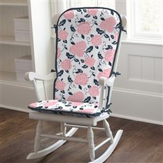 Coral and Navy Floral Rocking Chair Pad