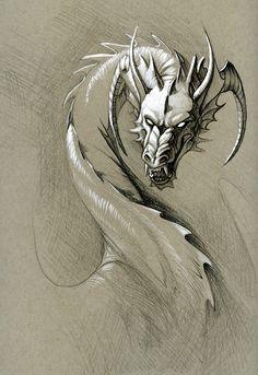 greyscale dragon by hibbary on DeviantArt Fantasy Dragon, Fantasy Art, Fantasy Creatures, Mythical Creatures, Dragon Artwork, Dragon Drawings, Realistic Dragon Drawing, Dragon Head Drawing, Art Drawings