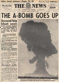 Old newspaper headline, atomic bomb detonated Newspaper Front Pages, Vintage Newspaper, Newspaper Article, Newspaper Wall, History Facts, World History, Bomba Nuclear, Cultura General, Newspaper Headlines