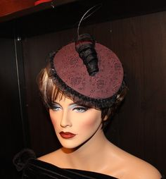 Items similar to Elegant Fascinator - Burgundy Damask with Sinamay spiral and Ostrich Quill. on Etsy Fascinator, Damask, Quilling, Spiral, Burgundy, Elegant, Hats, Diy, Fashion