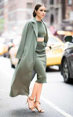 Matchy-Matchy from Olivia Culpo's Street Style Between her matching army green set and duster coat, the former Miss Universe once again proves she can do no wrong when it comes to street style.