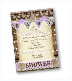 lavender vintage purple rustic baby shower invitation with lace and wood.  so PRETTY!